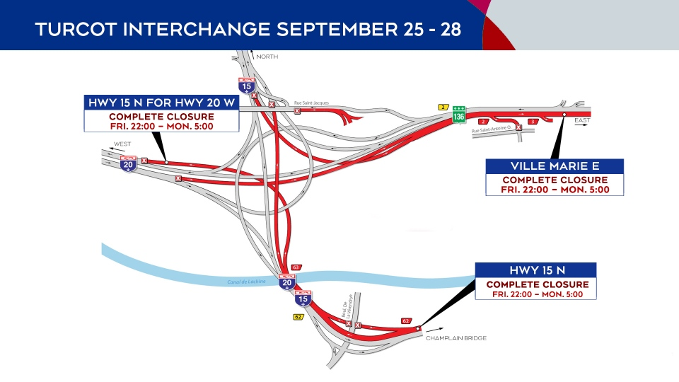Turcot Interchange closures Sept. 25-28, 2020