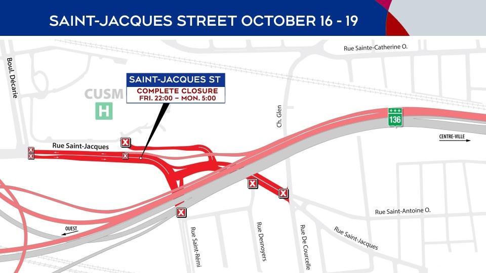 Saint-Jacques St. Closings Oct. 16-19