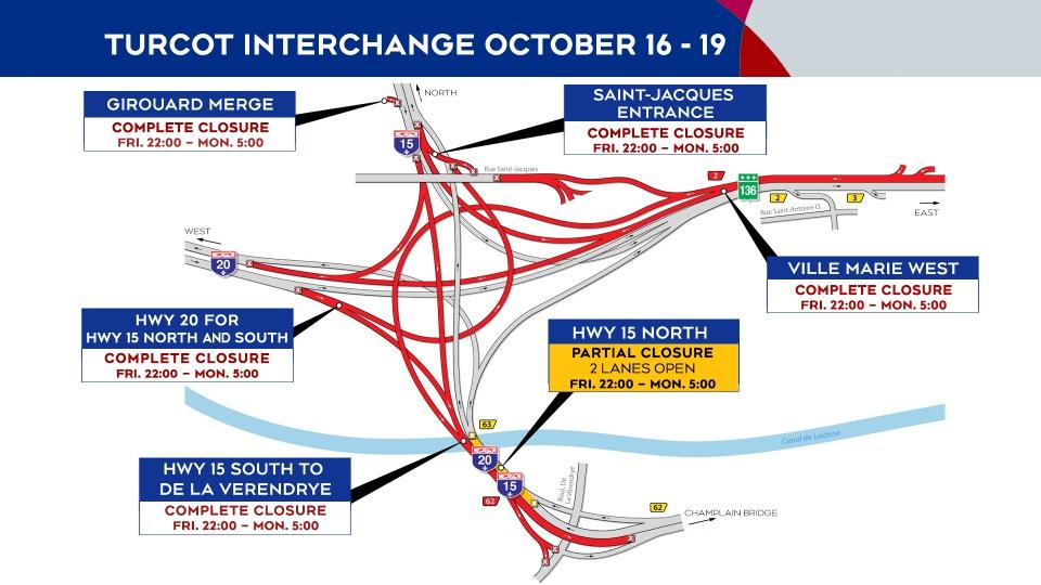 Turcot Interchange closings Oct. 16 to Oct. 19