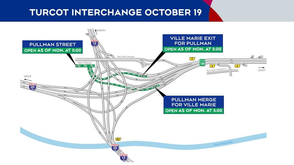Turcot Interchange openings Oct. 19