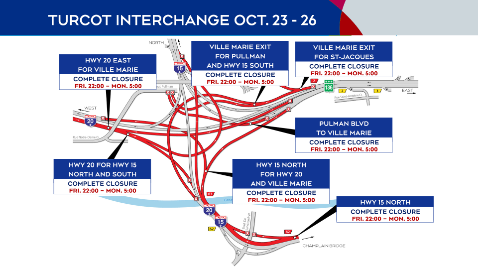 Turcot Interchange closures Oct. 23 to Oct. 25