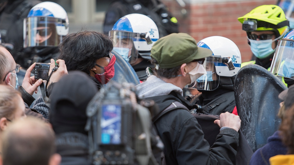 Protesters confront police in Montreal