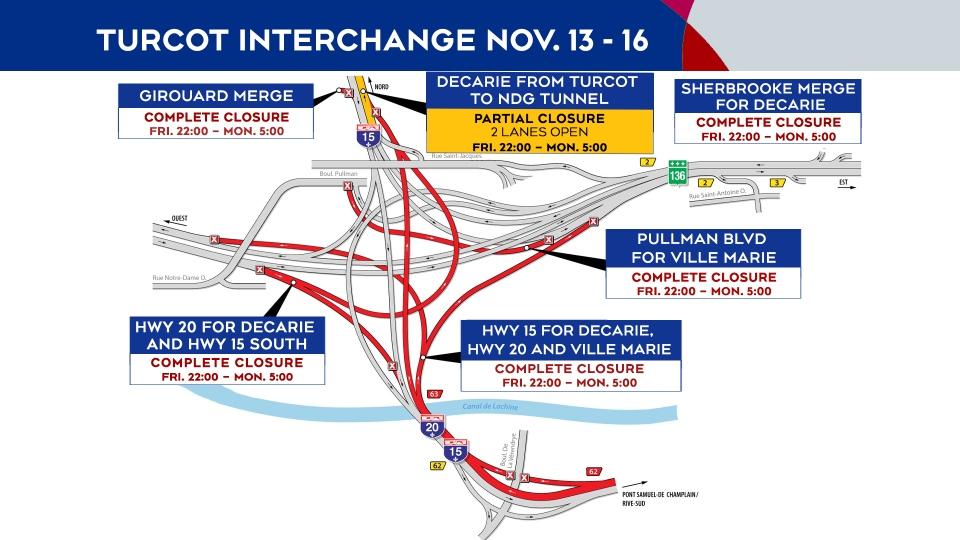 Turcot Interchange closures Nov. 13-16
