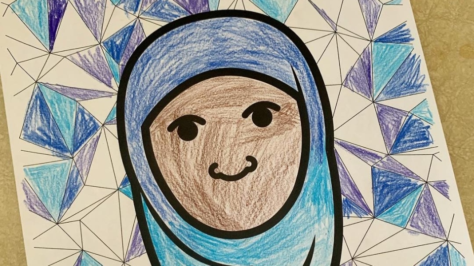 Colouring book Muslim girl