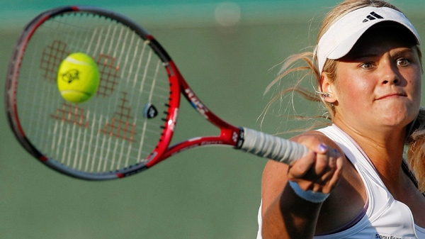 Aleksandra Wozniak, seen in this CP file photo, had to withdraw from the Bell Challenge in Quebec City after injuring her shoulder Thursday.
