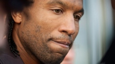Former Montreal Canadiens enforcer Georges Laraque comments after being released by the team Thursday, January 21, 2010. (Paul Chiasson / THE CANADIAN PRESS)