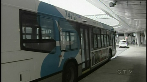 The 747 Airport Express is running 24 hours a day. It costs $7 in coins, unless you have a transit pass. (March 29, 2010)
