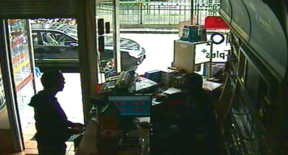 This image taken from CCTV obtained by Associated Press video shows Luka Rocco Magnotta speaking to Kadir Anlayisli, a cafe worker who recognized him, in the Internet cafe in the district of Neukoelln in Berlin, Germany, Monday, June 4, 2012. (AP Photo/AP Video)
