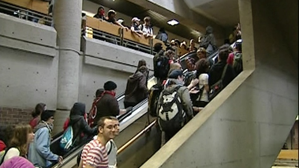 Dozens of protesters stormed into UQAM, refusing to let court-ordered classes take place (May 16, 2012)