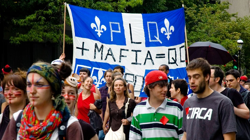 Student protesters are shown in Montreal on Tuesday, May 22, 2012. (Lou Musacchio / MyNews.CTVNews.ca)