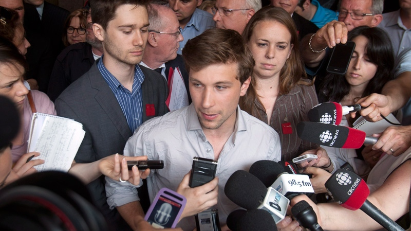 Student union leader Gabriel Nadeau-Dubois speaks to the media after filing a motion in court to challenge the legality of Quebec's controversial Bill 78 in Montreal Friday, May 25, 2012. THE CANADIAN PRESS/Ryan Remiorz