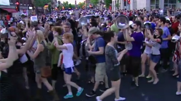 'Casserole' protests have been taking place throughout Montreal and other cities since emergency legislation restricting protest was passed (May 25, 2012)