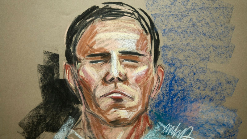 Luka Magnotta, the Montreal suspect in a gruesome dismemberment-murder of Lin Jun, is seen in an artist's sketch during his video court appearance Tuesday, June 19, 2012 in Montreal. Luka Rocco Magnotta has pleaded not guilty. THE CANADIAN PRESS/MHP