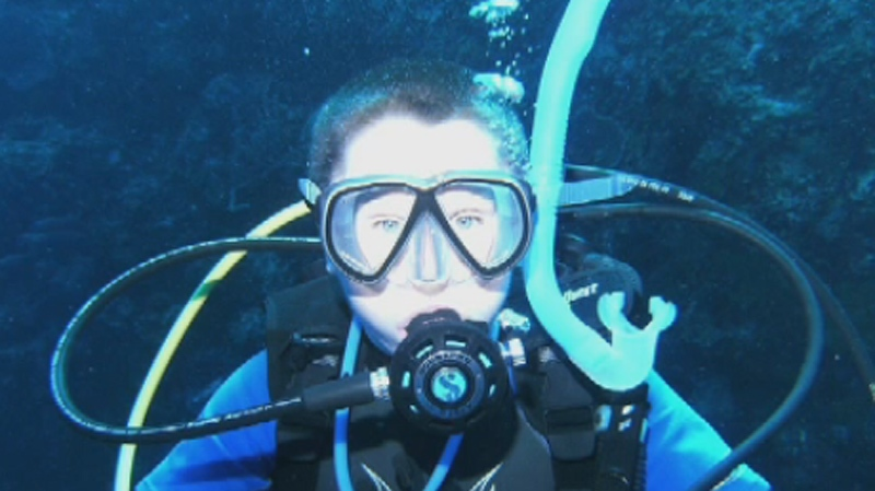 Sam Skinner, 14, has already become a Master Scuba Diver.
