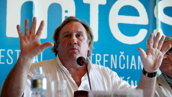 French actor Gerard Depardieu meets the media at the 18th annual Art Film Fest in Trencianske Teplice, Slovakia, Saturday, June 26, 2010. (CTK/ Andrej Luprich)