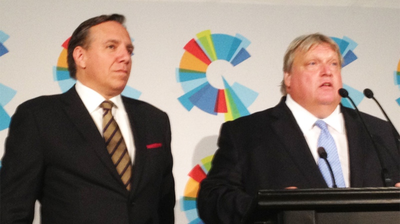 CAQ leader Francois Legault introduced star candidate Gaetan Barrette at a press conference Tuesday morning. (Photo Jason Clarke)