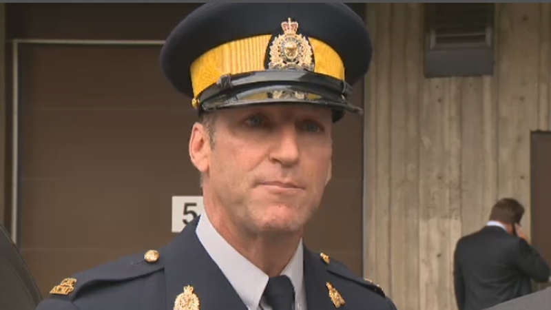 RCMP Corporal Luc Thibault explains the investigation that led to the arrest of four men, including Tony Accurso (Aug. 9, 2012)