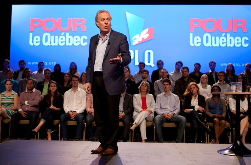 Quebec Liberal Party Leader Jean Charest speaks to members of the party's youth wing at a meeting in Victoriaville, Que., Saturday, August 11, 2012. Quebecers are going to the polls on Sept. 4. THE CANADIAN PRESS/Jacques Boissinot