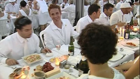 The Diner en blanc brought a little Paris to Montreal Thursday night.
