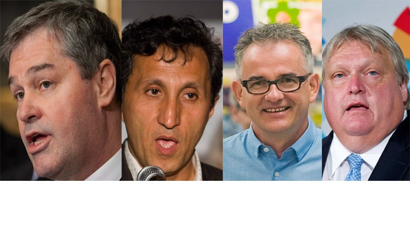 Liberal Yves Bolduc, QS Amir Khadir, PQ Rejean Hebert and CAQ candidate Gaetan Barrette are all doctors as well as political candidates. They dueled in a debate over health care in Montreal Tuesday. (CP file photos)