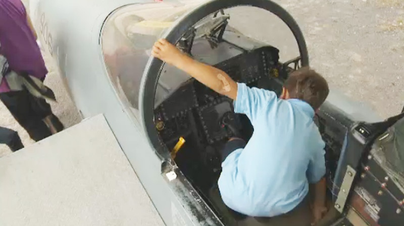 To some young folks, the event meant a chance to get inside a fighter jet.