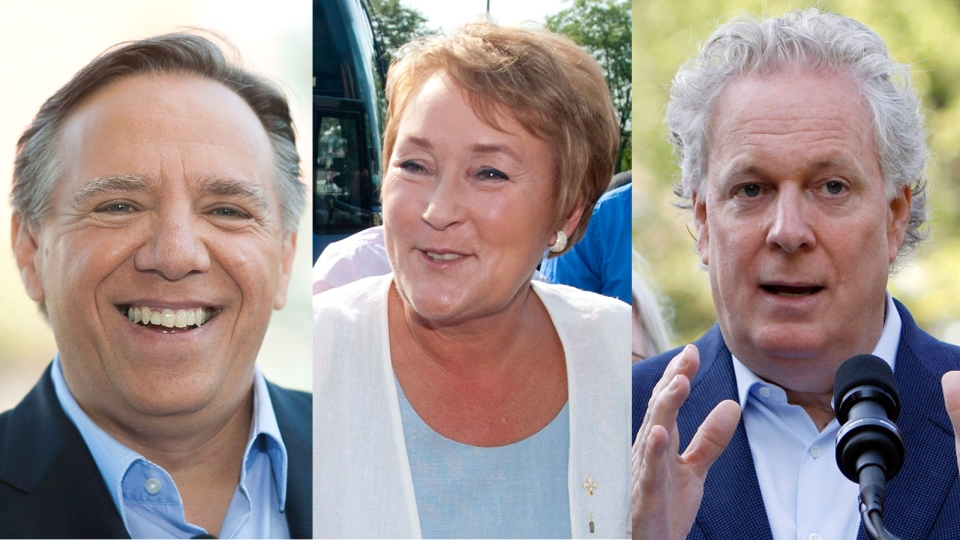 CAQ leader Francois Legault, PQ leader Pauline Marois and Liberal leader Jean Charest are shown in this composite photo. (Graham Hughes and Fred Chartrand / THE CANADIAN PRESS)