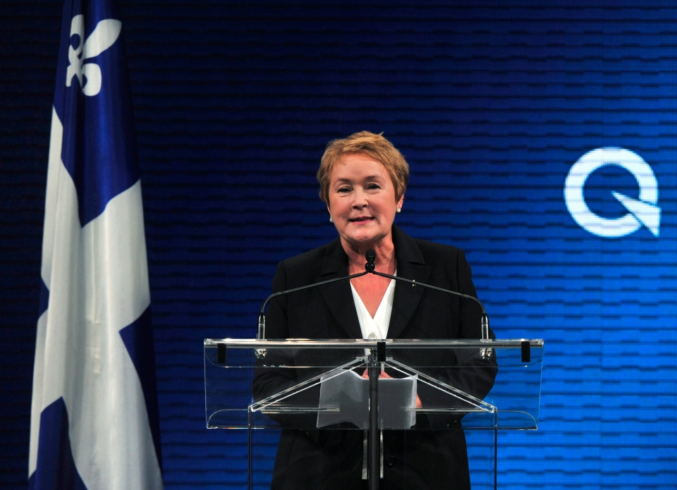 Parti Quebecois Leader Pauline Marois takes the stage after winnnig the provincial election Montreal in Tuesday, Sept. 4, 2012. (Paul Chiasson / THE CANADIAN PRESS)