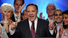 Coalition Avenir Quebec leader Francois Legault delivers a speech in Repentigny, Quebec on Tuesday