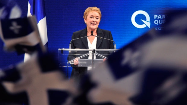 Parti Quebecois Leader Pauline Marois takes the stage after winning the provincial election in Montreal on Tuesday, Sept. 4, 2012. (The Canadian Press/Paul Chiasson)