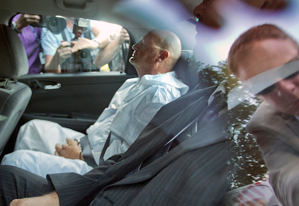 Richard Henry Bain arrives at court in Montreal on Thursday, Sept. 6, 2012. (Jacques Nadeau / Le Devoir)