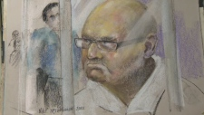 Richard Henry Bain appeared briefly in court Sept. 6, 2012. Sketch: Mike McLaughlin