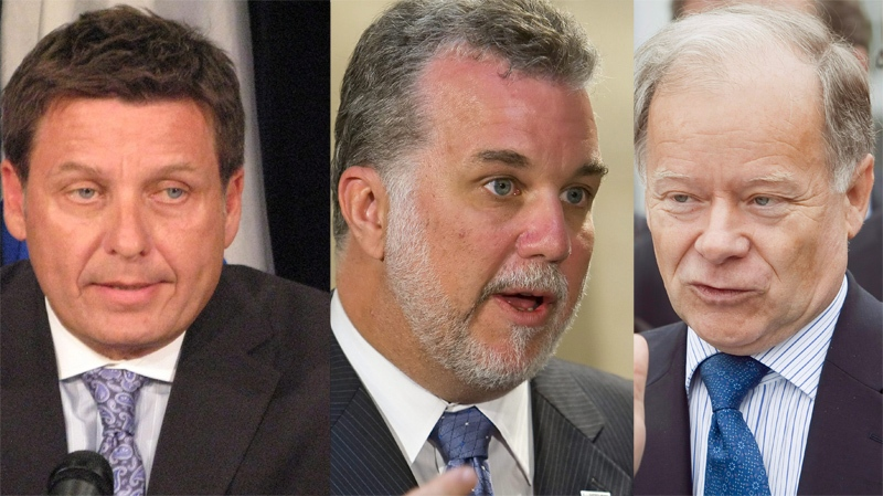 Veteran Liberal cabinet ministers Pierre Moreau, Philippe Couillard and Yves Bolduc are all considered possibilities to vie for crown of the Quebec Liberal Party.  (CP file photos).