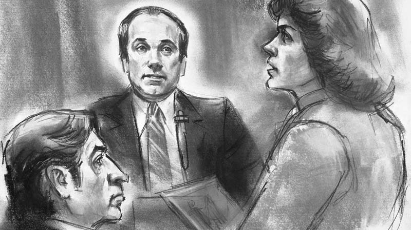 "This artist drawing shows undercover FBI agent Joseph Pistone, center, questioned by Assistant U.S. Attorney Barbara Jones at federal court in Manhattan, New York City on Tuesday, August 3, 1982, during the trial of five men accused of violating racketeering laws. At left is one of the defendants, Benjamin ""Lefty"" Ruggiero. So what can"