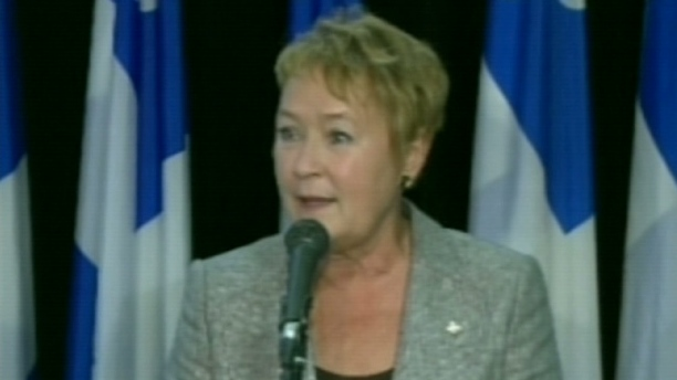 Pauline Marois talks to elected MNAs. Sept. 13, 2012