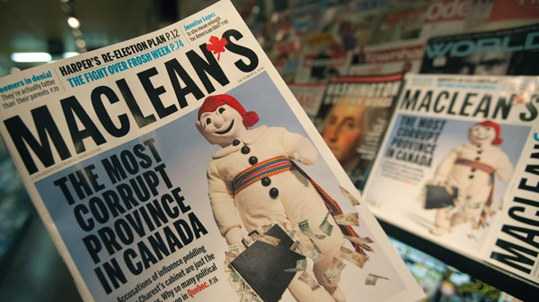 The latest edition of Maclean's magazine is seen at a news stand in North Vancouver, B.C. Friday, Sept. 24, 2010. (Jonathan Hayward / THE CANADIAN PRESS)