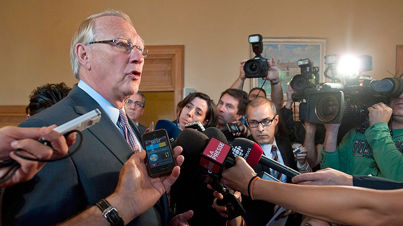 Montreal Mayor Gerald Tremblay speaks to reporters to make a statement in relation to testimony made by Lino Zambito at the Charbonneau commission an inquiry looking into corruption and collusion in Quebec's construction industry,  in Montreal, Monday, Oct. 1, 2012. (Graham Hughes / THE CANADIAN PRESS)