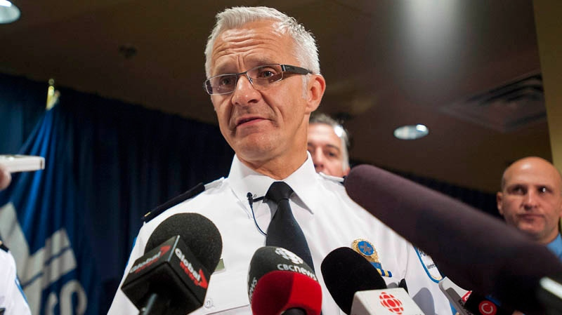 Montreal police chief Marc Parent attends a news conference in Montreal, Thursday, October 11, 2012, where he spoke to reporters about a disciplinary investigation into the actions surrounding officer 728. THE CANADIAN PRESS/Graham Hughes.