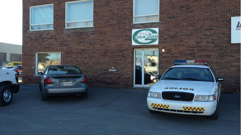 Police raided G. Guiliani Inc. in Laval Tuesday morning (Oct. 16, 2012. CTV Montreal/Pedro Querido)