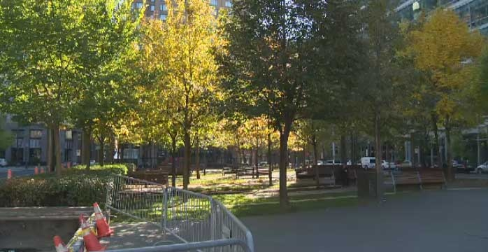 The city is removing planters, trees and soil from Place Jean-Riopelle to rid it of 10 per cent of the weight. No word on how snow and ice will be dealt with come winter.